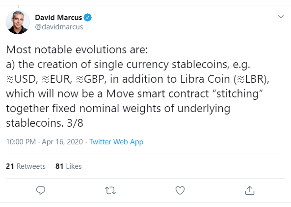 Tweet from David Marcus about Facebook's plans for Libra
